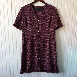 ELLEN TRACY 90s Short Sleeve Print Silk Dress 14